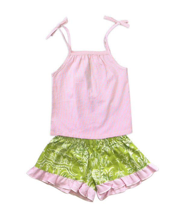 Pink Seersucker Tie Shoulder Tank and Dark Green Toile Bella Boxer Short Set