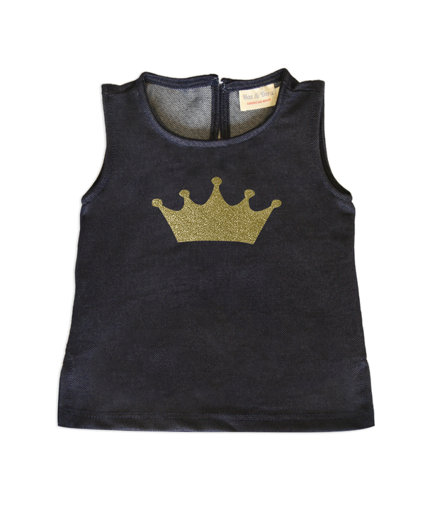 Leah Denim Sleeveless Jersey Top With Gold Glitter Crown