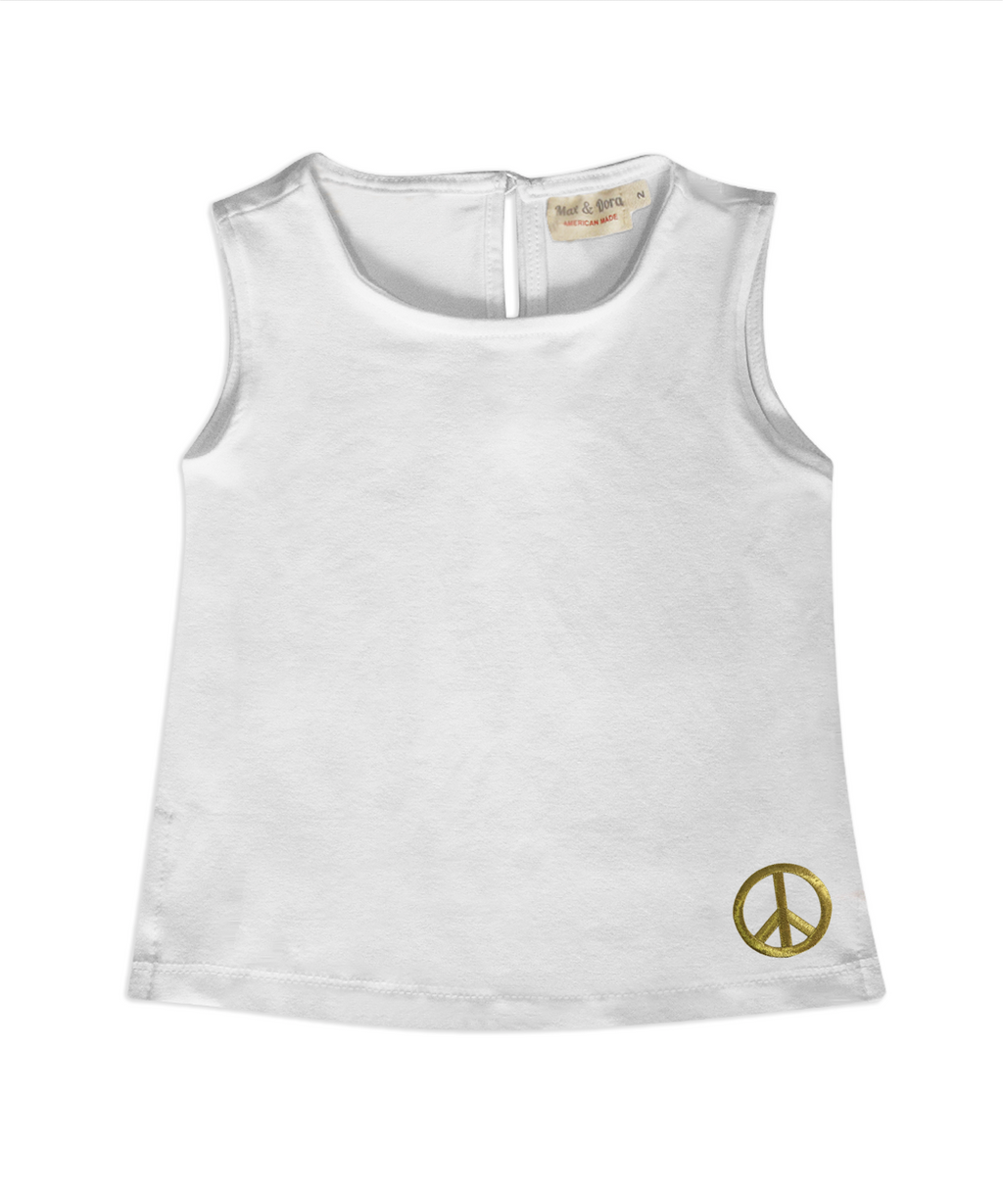 Leah White Sleeveless Jersey Top With Gold Peace Sign