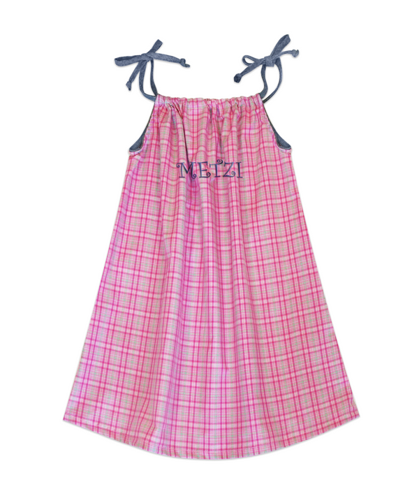 Lila Pink and Green Plaid Sundress