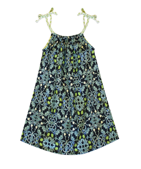 Lila Floral Navy Filigree Dress