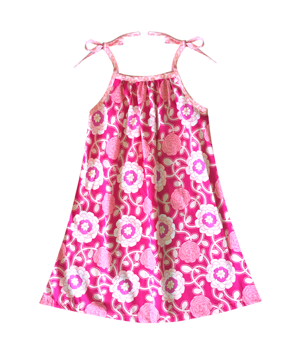 Lisette Tie Shoulder Sundress in Pink Floral Vine