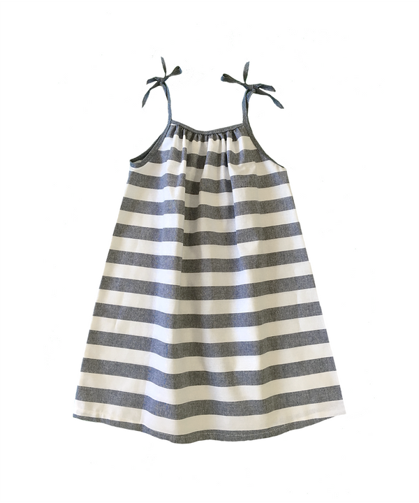 Lisette Tie Shoulder Sundress in Chambray & White Stripe