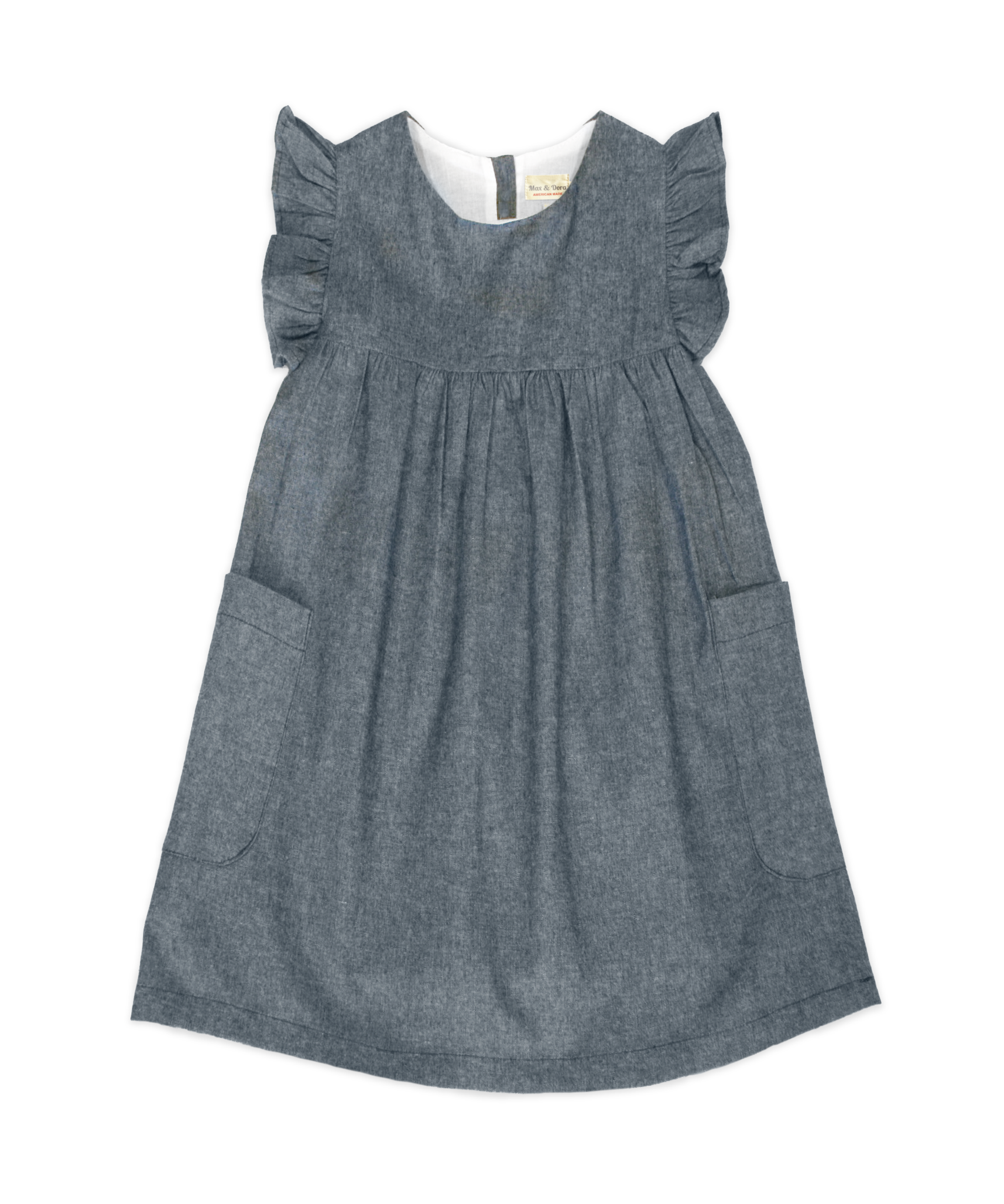 London chambray denim empire waist flutter sleeve dress for Chambray 7 s