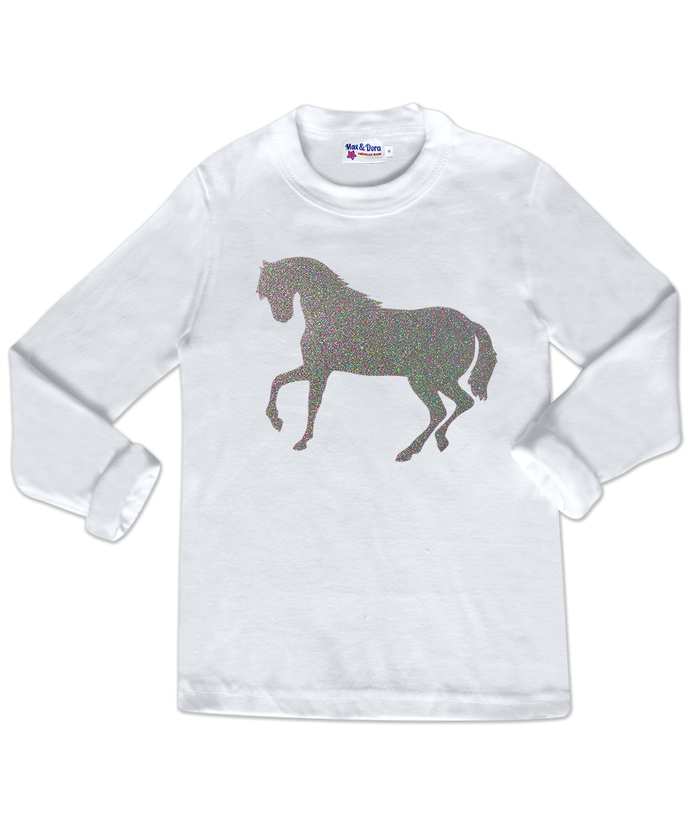 Iridescent Glitter Horse White Long Sleeve Jersey T-Shirt