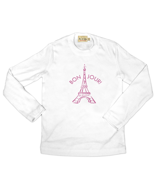 """Bonjour"" White Long Sleeve Jersey Tee Shirt"
