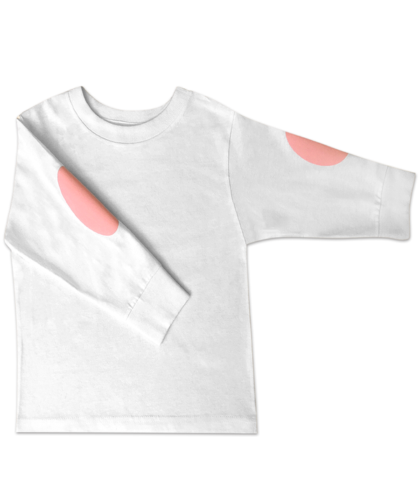 White Long Sleeve Jersey T-Shirt with Elbow Patches in Pink