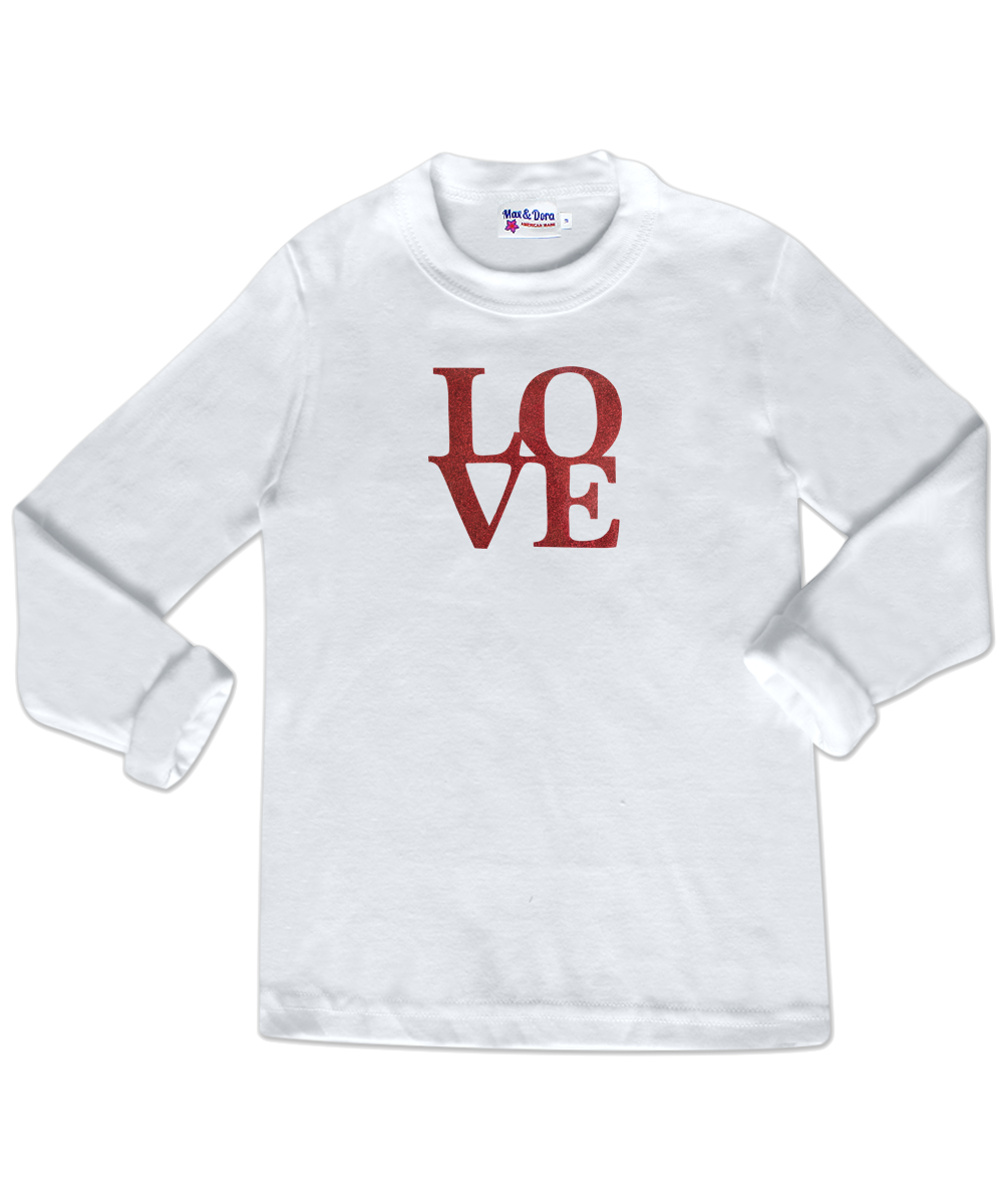 "Red Sparkle ""LOVE"" White Long Sleeve Jersey Tee Shirt"