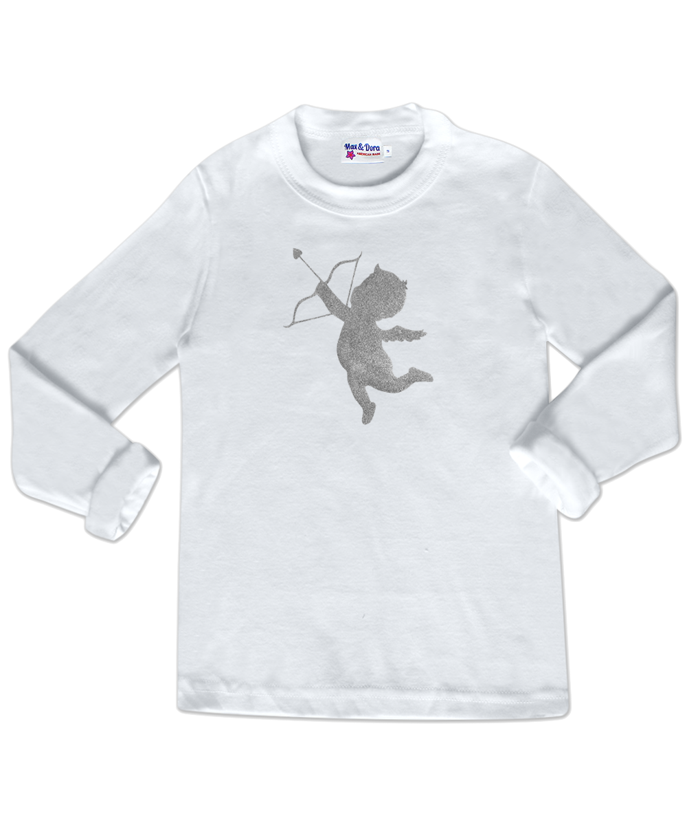 Silver Sparkle Cupid White Long Sleeve Jersey Tee Shirt