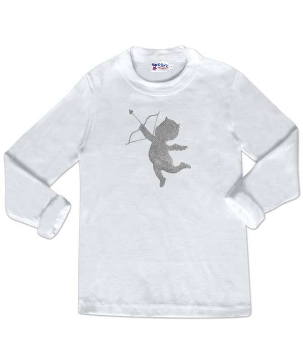 Silver Sparkle Cupid White Long Sleeve Jersey T-Shirt