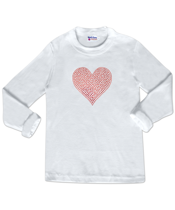 Red Rhinestone Heart White Long Sleeve Jersey Tee Shirt