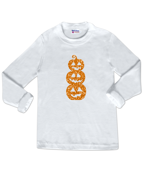 White Long Sleeve Halloween Orange Sparkle Jack O'Lanterns