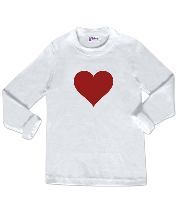 Red Heart White Long Sleeve Jersey Tee Shirt