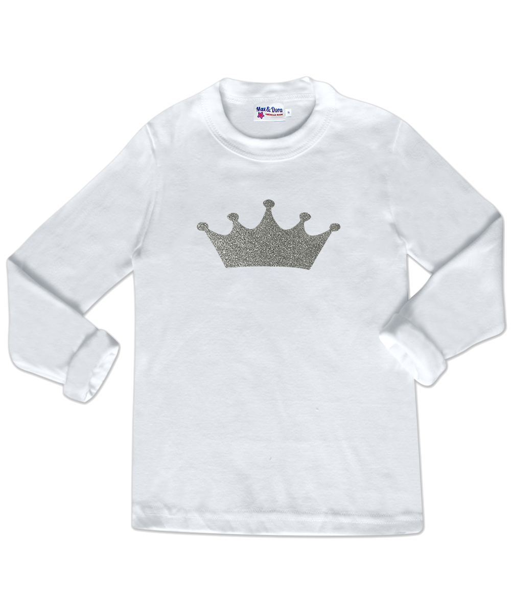 Silver Sparkle Princess Crown Long Sleeve Jersey T-Shirt
