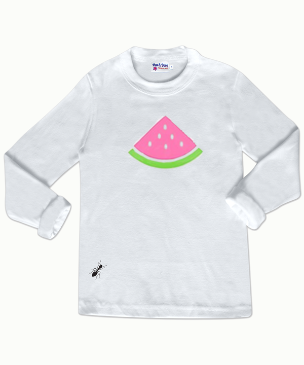 Pink and Green Flocked Watermelon White Long Sleeve Jersey T-Shirt