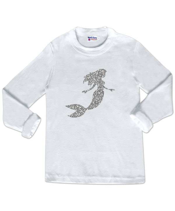 Silver Sparkle Mermaid White Long Sleeve Jersey T-Shirt