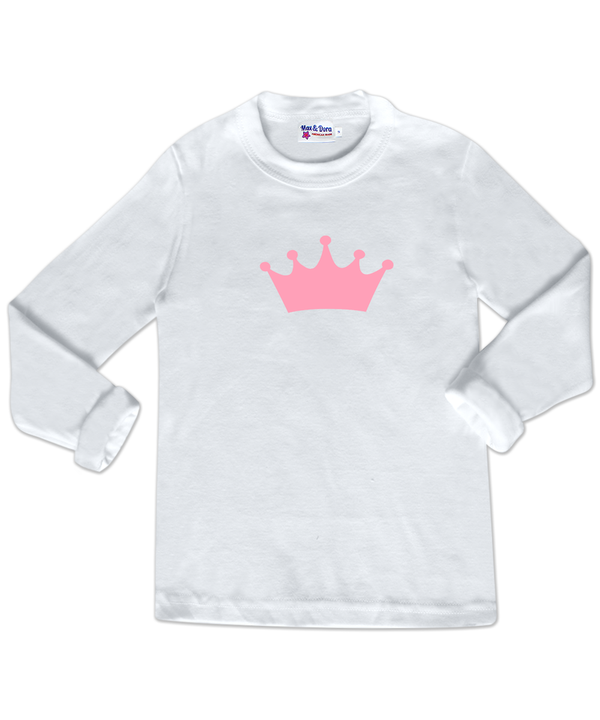 Pink Flocked Crown White Long Sleeve Jersey Tee Shirt