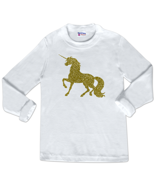 Sparkle Gold Unicorn White Long Sleeve Jersey T-Shirt