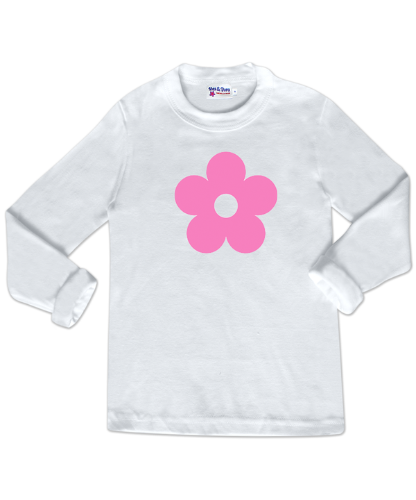 Pink Flocked Flower White Long Sleeve Jersey T-Shirt