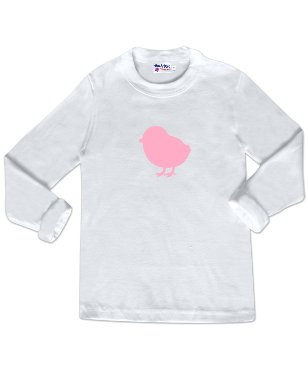 Pink Flocked Chick White Long Sleeve Jersey Shirt