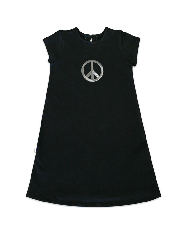 Maggie Black French Terry Dress with Silver Peace Sign