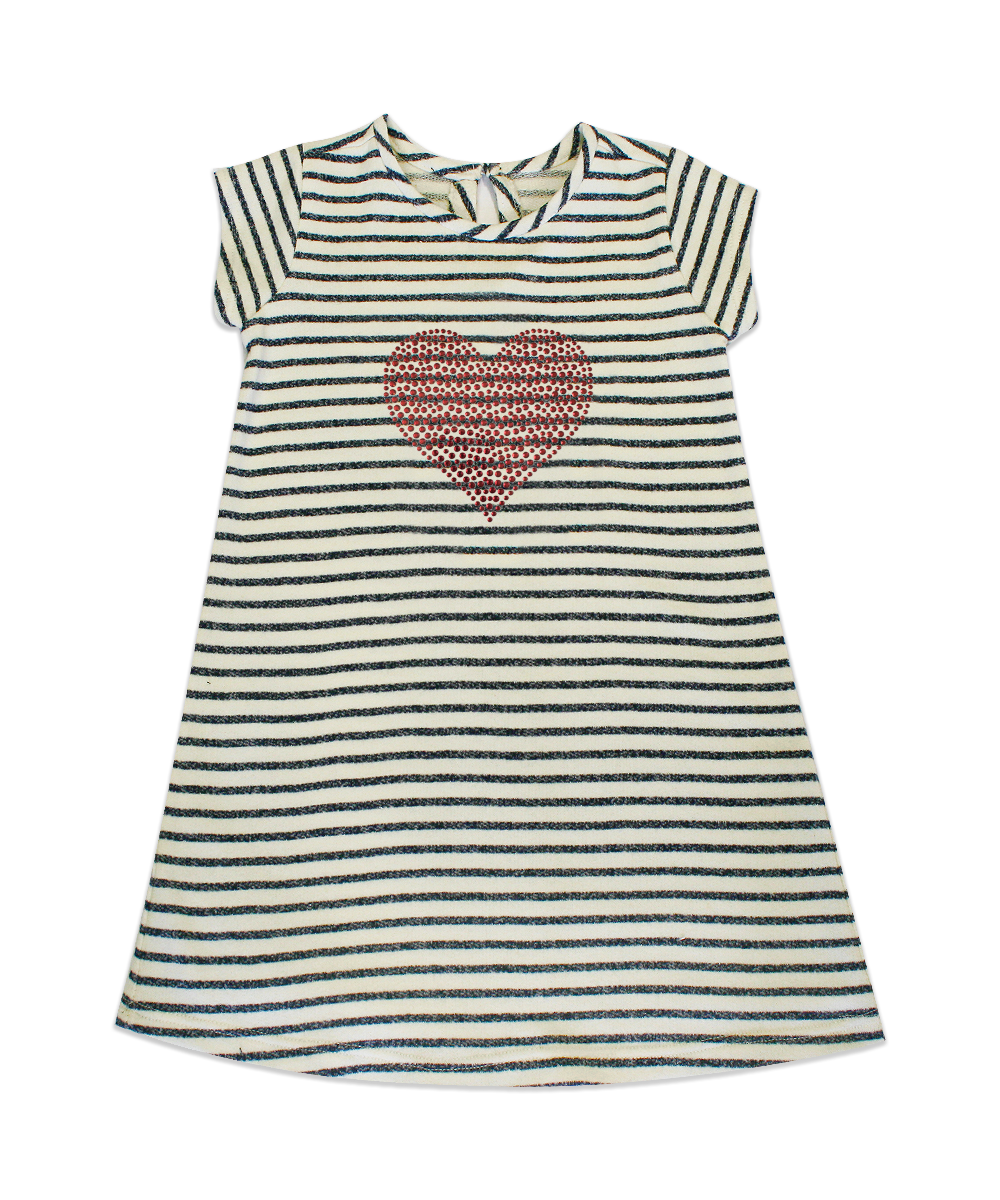 Maggie Charcoal/Ivory Stripe French Terry A-line Dress with Red Rhinestone Heart