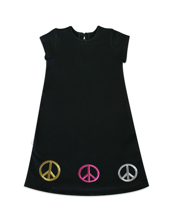 Maggie Black Jersey A-line Dress with Triple Peace Signs