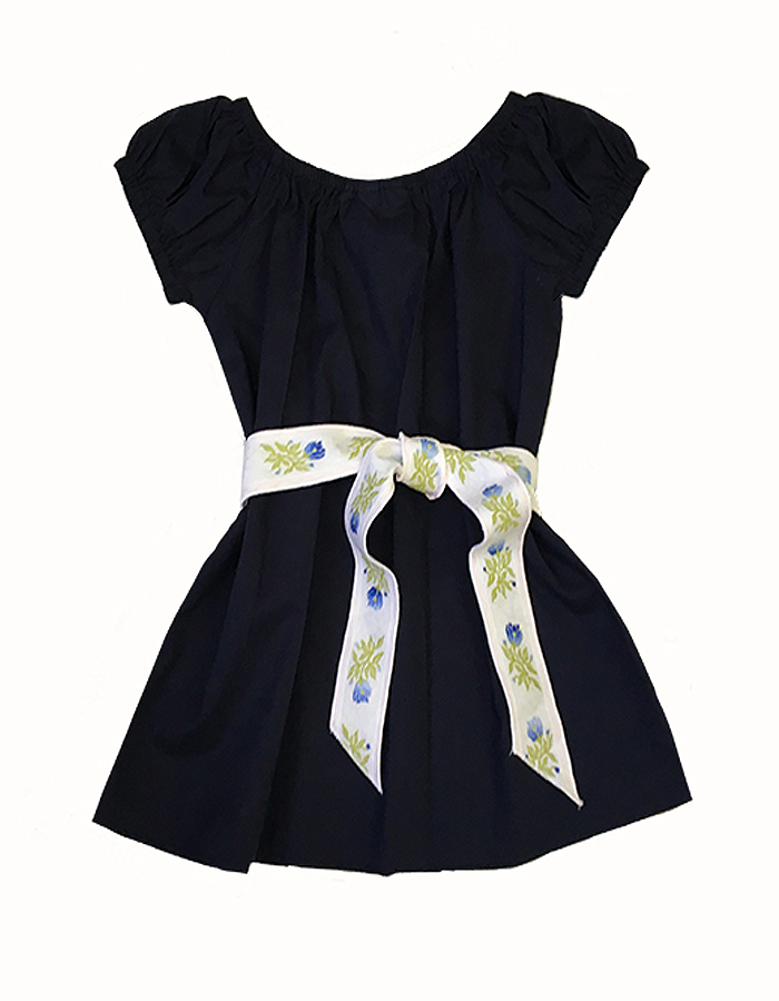 Matilda Navy Dress with Vintage Belt