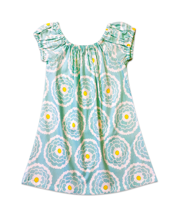 Matilda Short Sleeve Aqua Floral Peasant Style Shift Dress