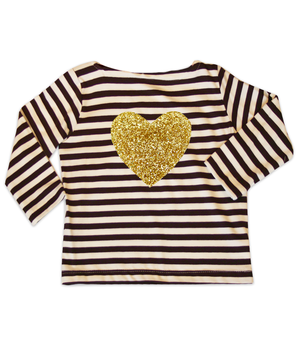 Mia Brown Striped Jersey Bateau Neck Top w/Gold Glitter Heart