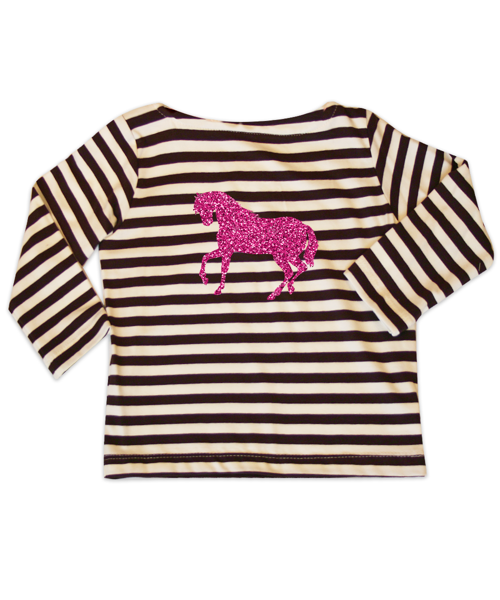 Mia Brown Striped Jersey Bateau Neck Top w/Pink Glitter Horse