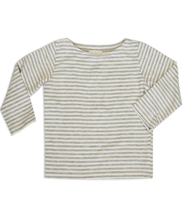 Mia Bateau Neck Gray and Ivory Striped Top