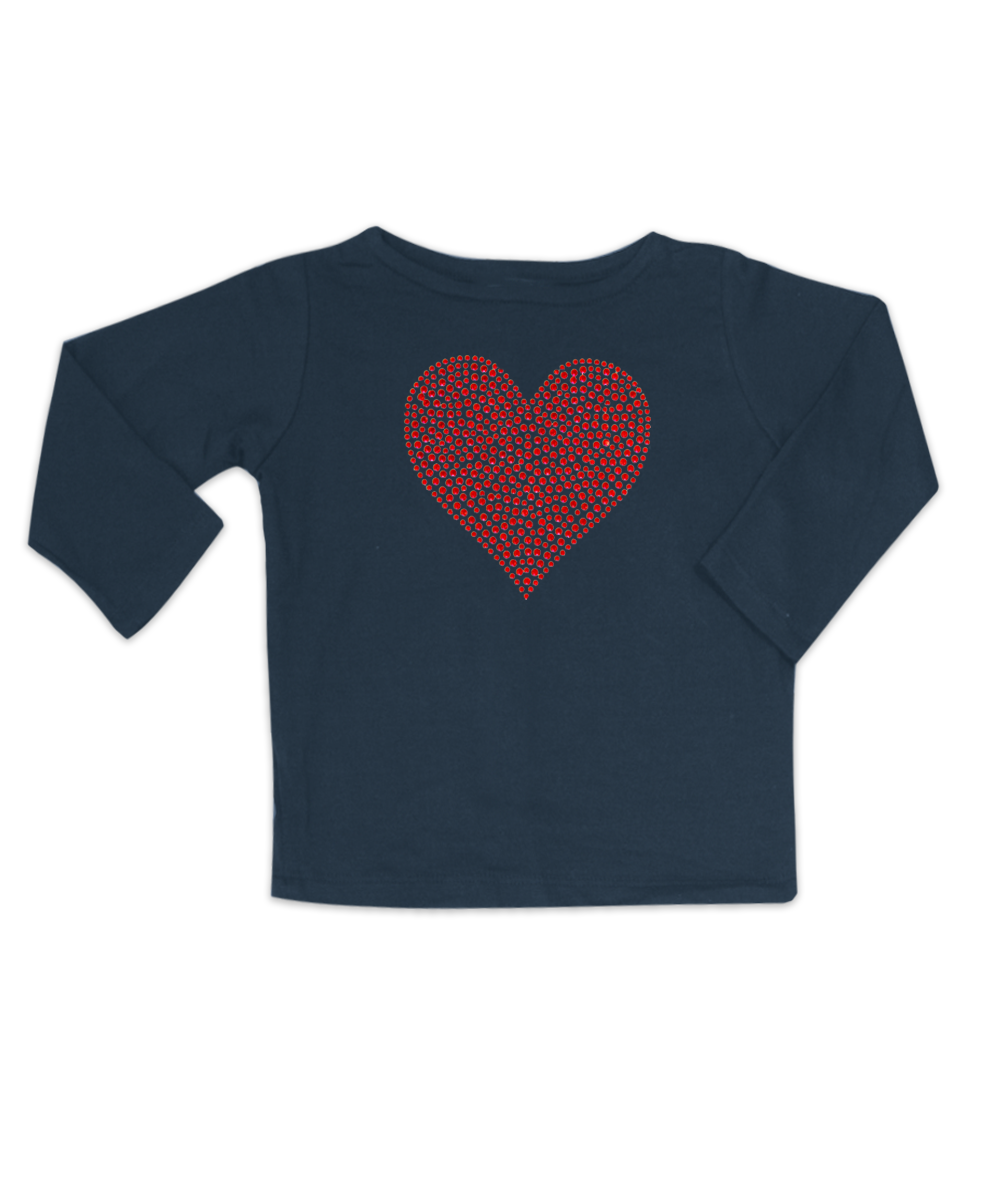 Mia Bateau Neck Navy with Red Rhinestone Heart