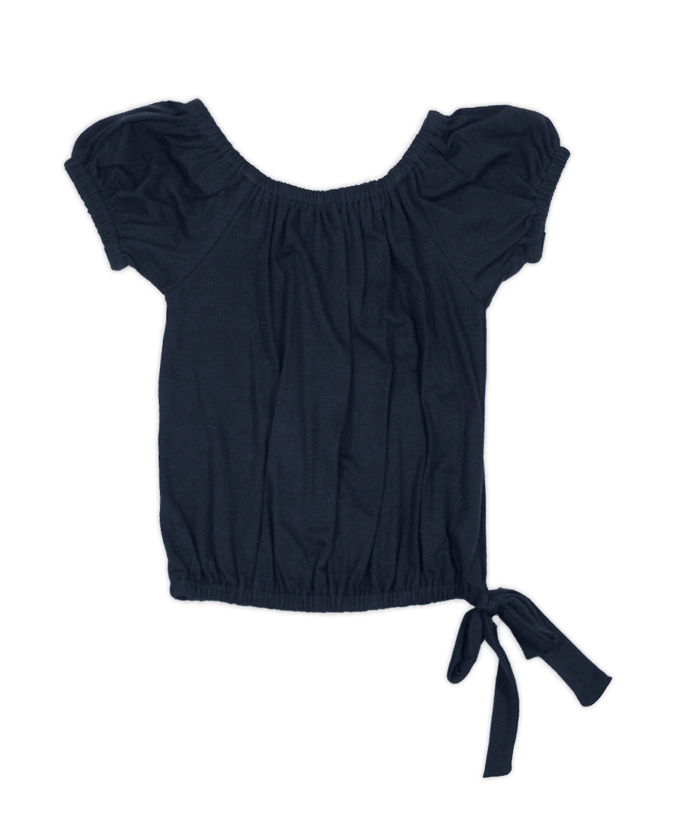 Michelle Navy Side-Tie Top