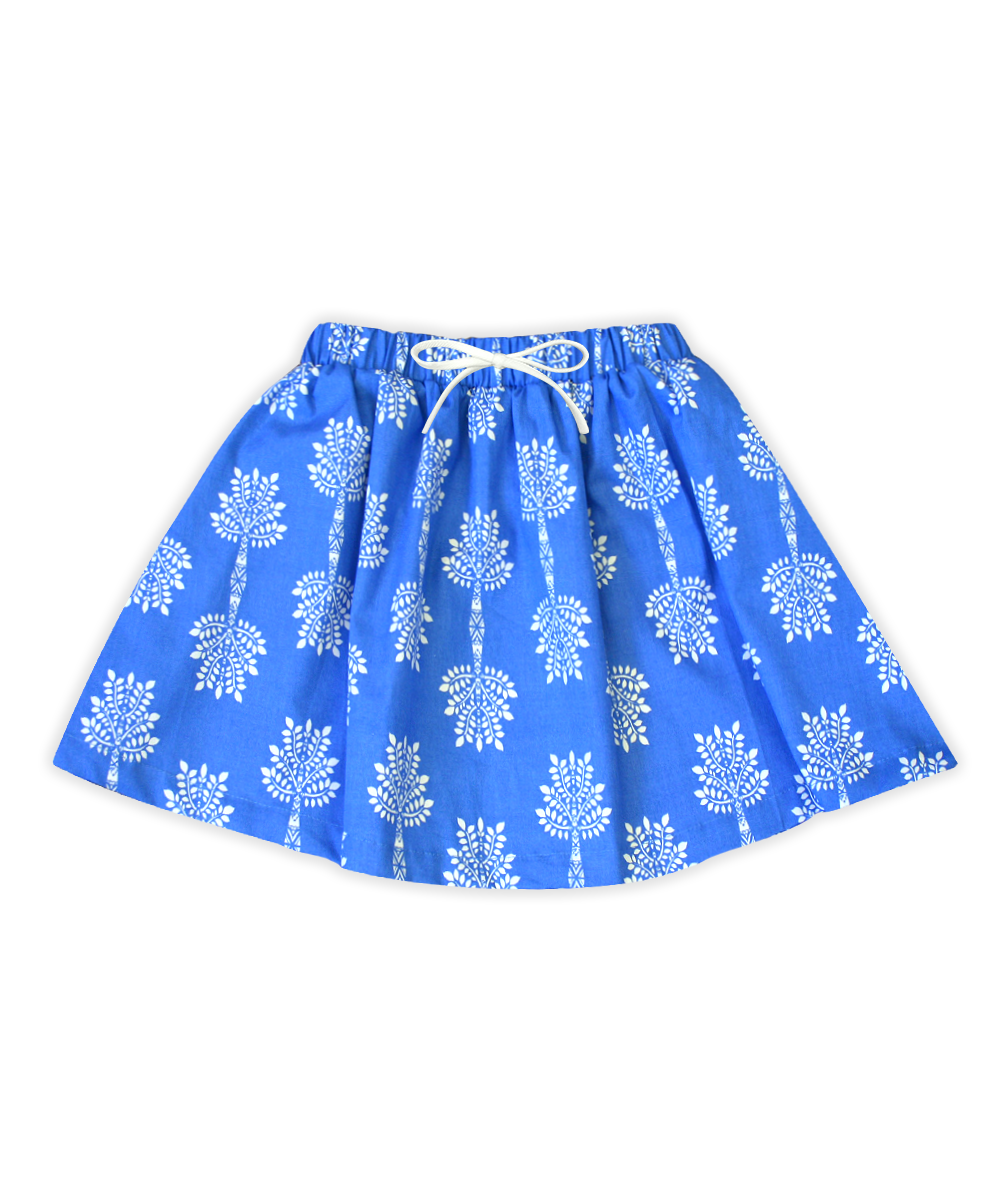 Milly Sea Blue & White Palm Leaf Skirt