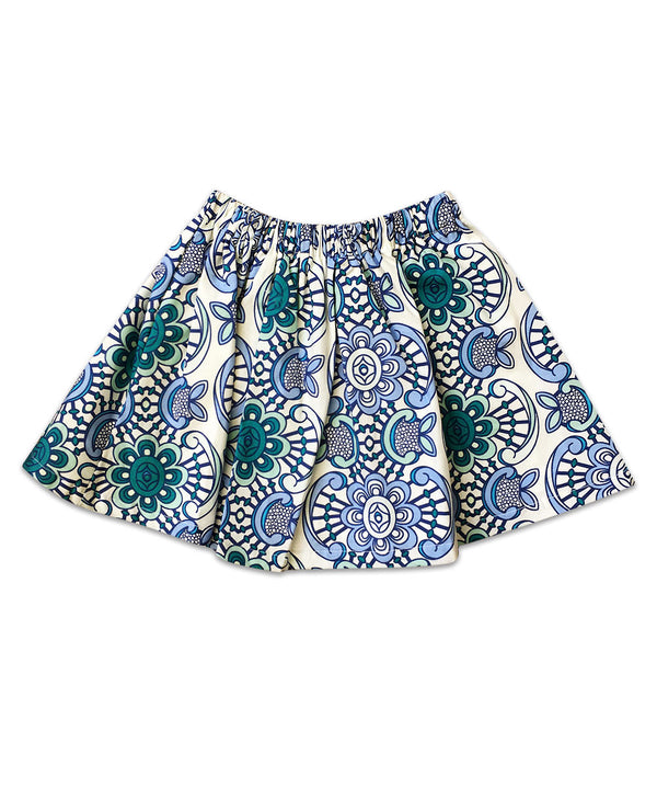Milly Boho Large Blue Floral Elastic Waist Skirt