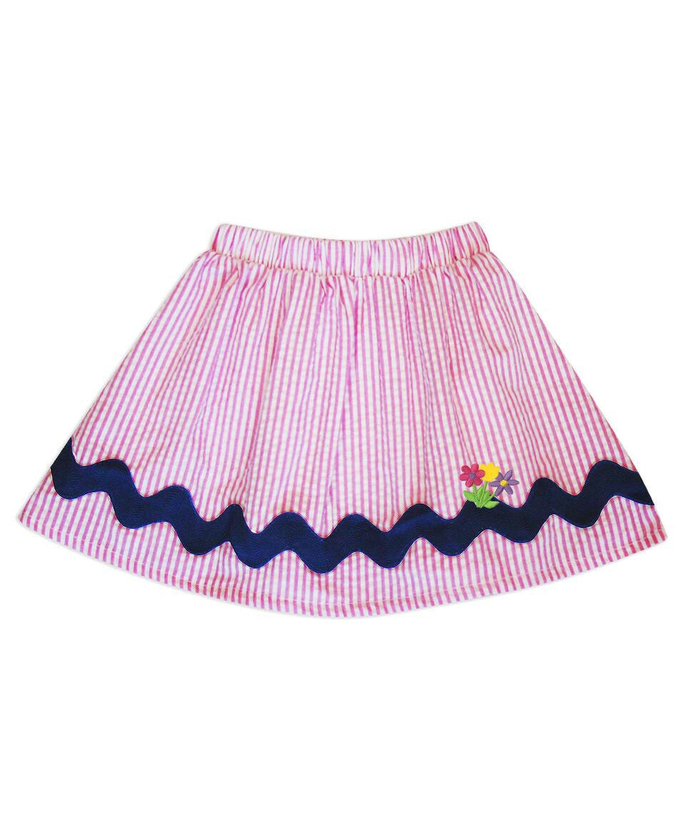 Milly Pink Seersucker Skirt with Floral Applique