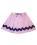 Milly Pink/White Stripe Seersucker Skirt with Navy Trim