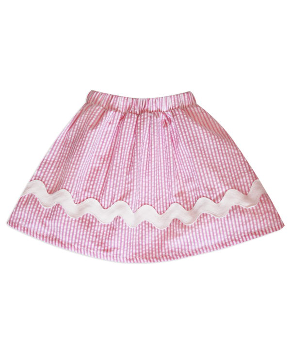 Milly Pink/White Stripe Seersucker Skirt w/ White Trim