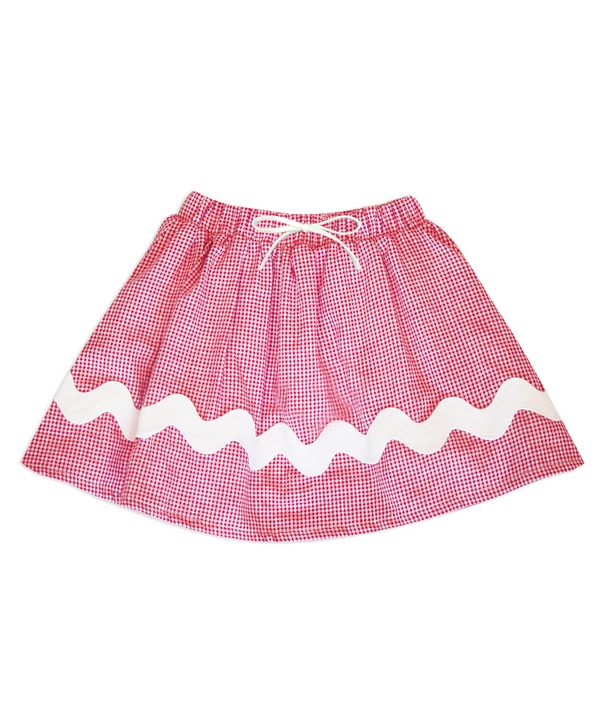 Milly Red/White Gingham Skirt
