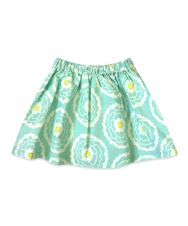 Milly Boho Aqua and White Floral Elastic Waist Skirt