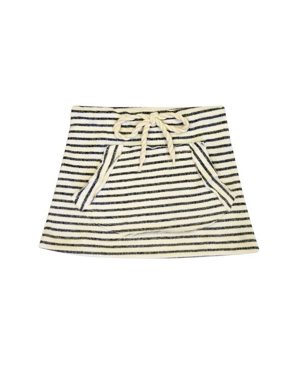 Natalie Striped French Terry Drawstring Skirt with Kangaroo Pocket