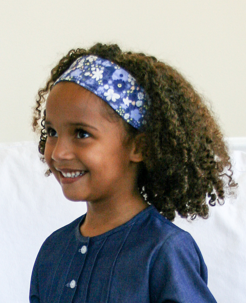 Navy Floral Check Reversible Headband