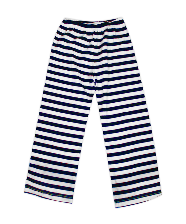 Nikki Navy and White Stripe Elastic Waist Pant