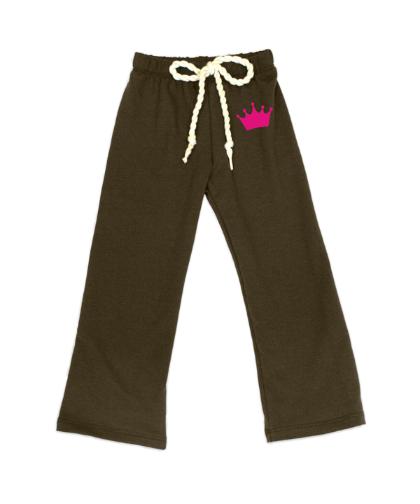 Nikki Chocolate French Terry Pant w/Crown Appliqué