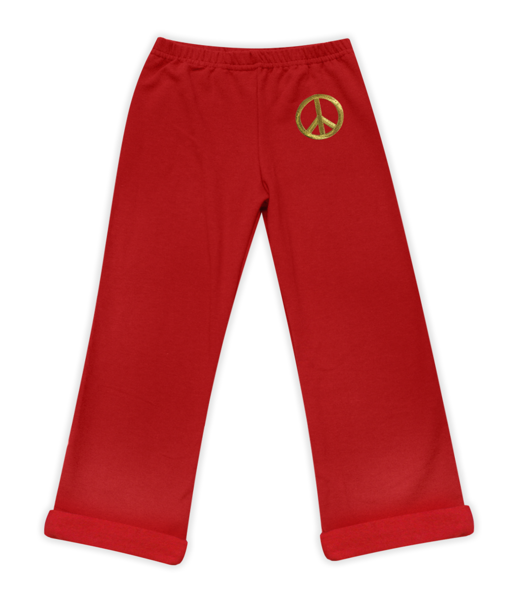 Nikki Red Elastic Waist Pant with Peace Sign
