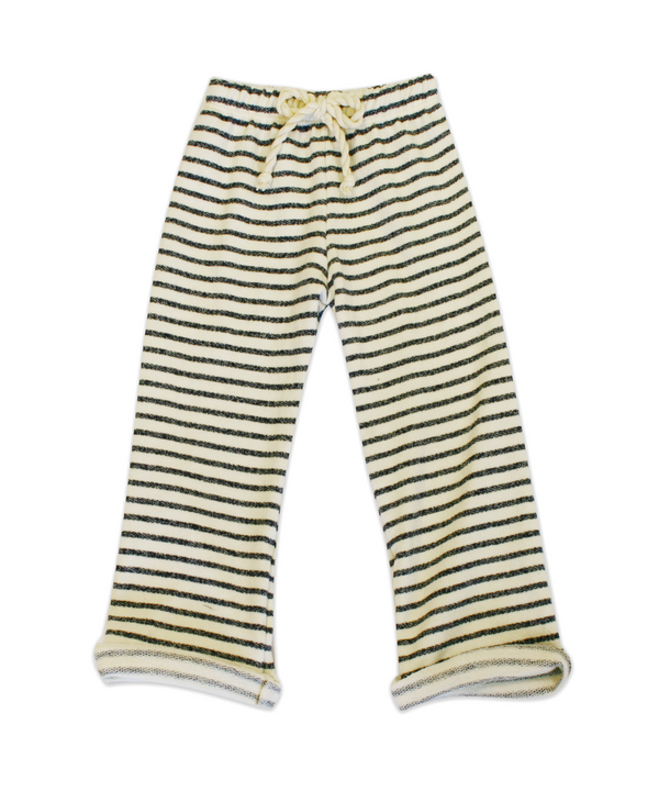 Nikki Charcoal and Ivory Stripe French Terry Pant