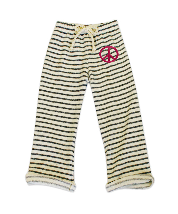 Nikki Charcoal & Ivory Stripe Pant w/Pink Peace Sign