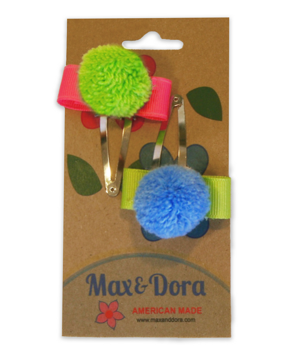 Green & Blue Pom-Pom Clips