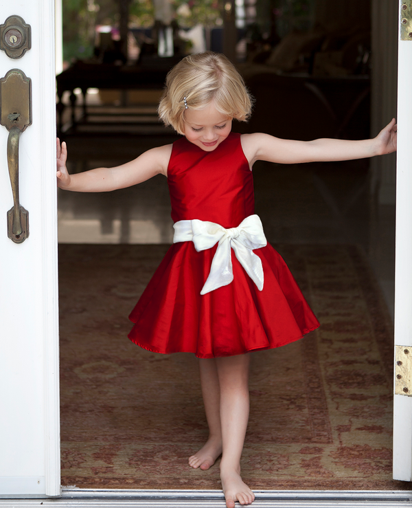 Red Cade Twirly Taffeta Party Dress